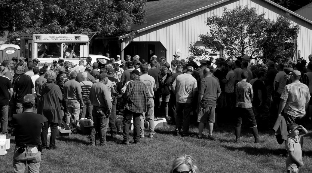 Selling tractors at the Demaray collection auction in Dorr Michigan September 2016