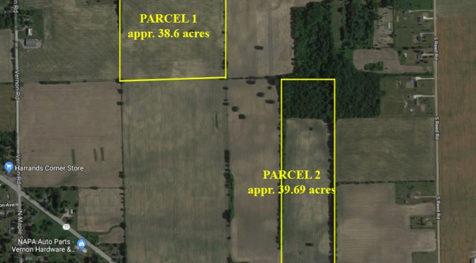 December 13th – Shiawassee County Real Estate Auction: 2 parcels, approximately 78 acres